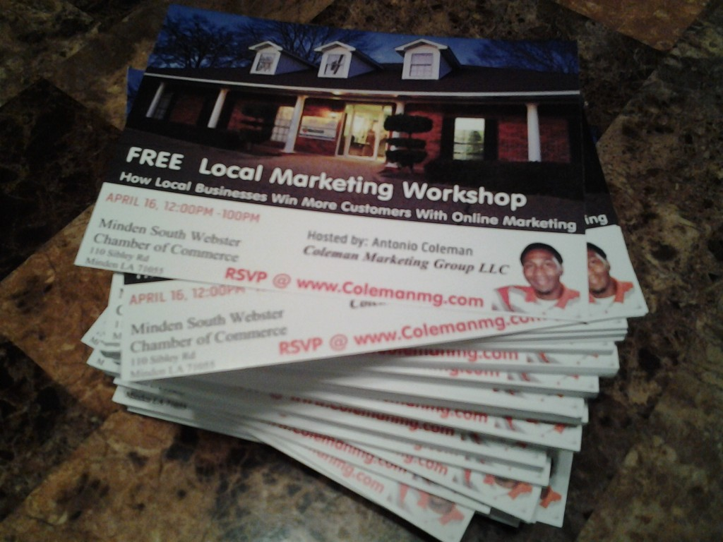 Free local marketing workshop at Minden Chamber of Commerce by Antonio Coleman of Coleman Marketing Group LLC