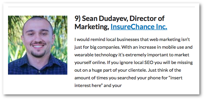 Sean Dudayev, Director of Marketing, InsureChance Inc